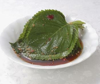 ゴマの葉醤油漬